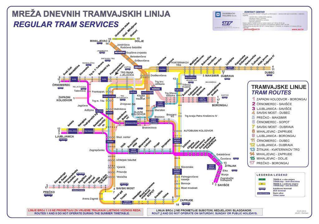 Zet Zagreb Croatia Tram Map